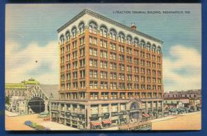 Traction Terminal Building #3 Indianapolis Indiana IN railway trolley postcard
