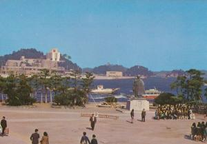 Mr Mikimoto Statue at New Toba Port Japanese Postcard