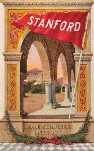 Leland Stanford Jr University, California Flag Pennant 1909 Vintage Postcard