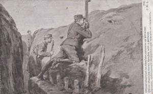 Officer Observing Enemy Trenches Periscope Antique WW1 Military Postcard