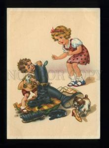 164985 Kids Puppy cleaning BOOTS shoe shiner Vintage color PC