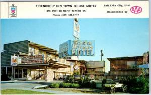 Salt Lake City Utah Postcard FRIENDSHIP INN TOWN HOUSE MOTEL Temple Street1960s