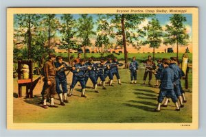 Camp Shelby MS-Mississippi, Bayonet Practice, Soldiers, Linen Postcard