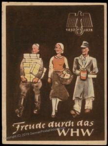 3rd Reich Germany 1938 Winterhilfswerk WHW Winter Charities Donation Plaka 77114