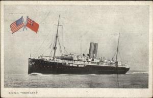 Royal Mail Steamship RMSP Orotava & Flags c1910 Postcard