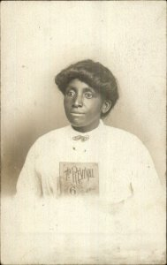 Black Americana Woman Holding THE REVIVAL Book or Sheet Music c1910 RPPC G19