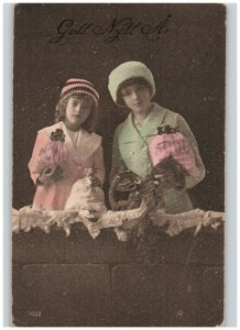 Girls with Money Bags & Horseshoe Hand Painted Antique RPPC European New Year