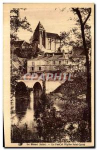 Old Postcard The White Bridge and the Church of Saint Cyran