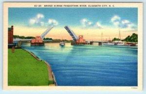 3 Postcards ELIZABETH CITY, North Carolina SC ~ BUSINESS SECTION & BRIDGE 1940s