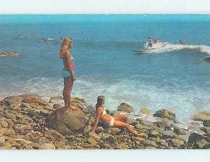 Pre-1980 Risque BIKINI GIRLS WATCH SURFBOARDS Malibu by Santa Monica CA hp4855