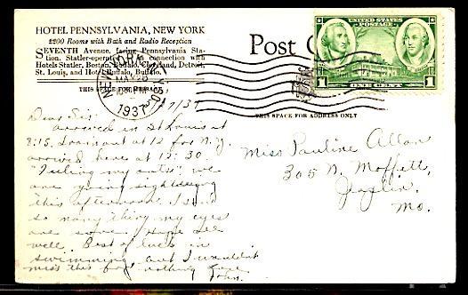 Hotel Pennsylvania 7th Avenue Opposite Penn Station Mailed 1937