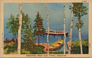 East Tawas Michigan~Rowboat Beached on Lake~Paddle Canoe~Birch Trees~1947 Linen