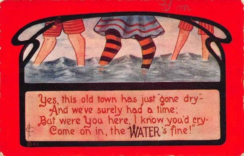Prohibition Comic~Town's Gone Dry~Bathing Beauty Legs~Come on In~WATER is Fine