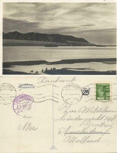 norway norge, SPITSBERGEN SVALBARD, Evening with Steamers (1929) RPPC Postcard