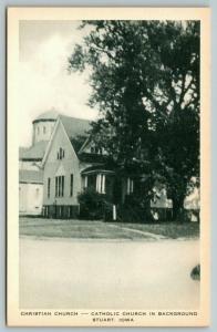 Stuart Iowa~Christian Church~Catholic Church Behind~1940s Artvue Postcard