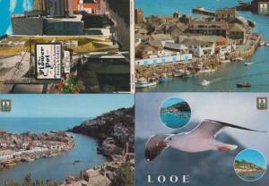 Looe Flower Pot Bird Fishing Trawlers 4x Mint Postcard s