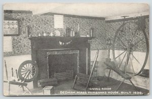 Dedham Massachusetts~Fairbanks House Living Room~Spinning Wheels~c1910 B&W PC