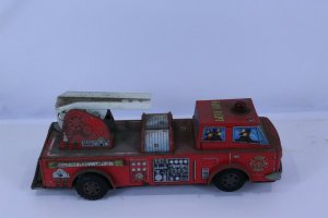 Fire Truck Vintage Metal Selling for Parts or Repair Non Working 13 1/2 Long