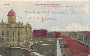 Fairbury Nebraska~Street by Court House~1908 Postcard