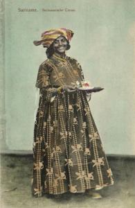 suriname, Native Woman in Costumes serving Cacao Cocoa (1899)