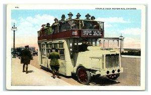 Postcard Double Deck Motor Bus, Chicago IL Y65
