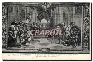 Postcard Old Gobelins Tapestry Heliodore Hunting of the Temple of Jerusalem a...