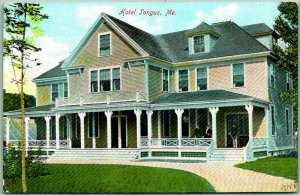 Vintage 1900s TOGUS, Maine Postcard Hotel Tongus Street View - Unused