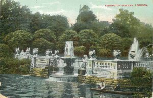 Postcard British England London kensington gardens fountain statue boat park art