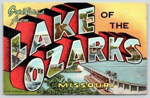 Lake of the Ozarks Missouri~Dam-Hurricane Deck Bridge-1956 Large Letter Linen