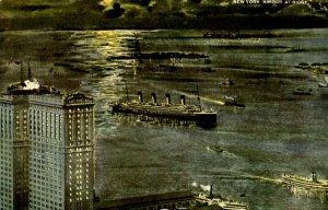 NY - New York City. The Harbor at Night