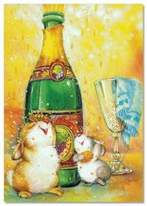 Lisi MARTIN~ BUNNY rabbit & MOUSE celebrate Champagne FUNNY New Modern postcard