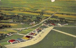 Lambert Field Airport St Louis Missouri linen postcard