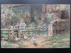 Tucks 'English Cottage Homes' FEEDING THE DUCKS from original by John Heyermans