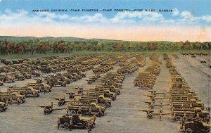 Armored Div., Camp Funston, Camp Forsyth, Ft. Riley, Kansas, W.W. II Postcard