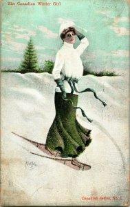 Vtg Postal 1906 Canadiense Invierno Niña San Valentín Patriótico Firmado Alfred