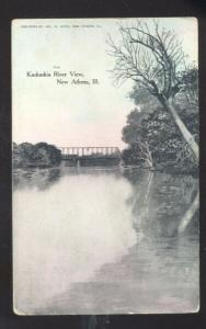 NEW ATHENS ILLINOIS KASKASKIE RIVER VIEW BRIDGE VINTAGE POSTCARD ILL. 1908