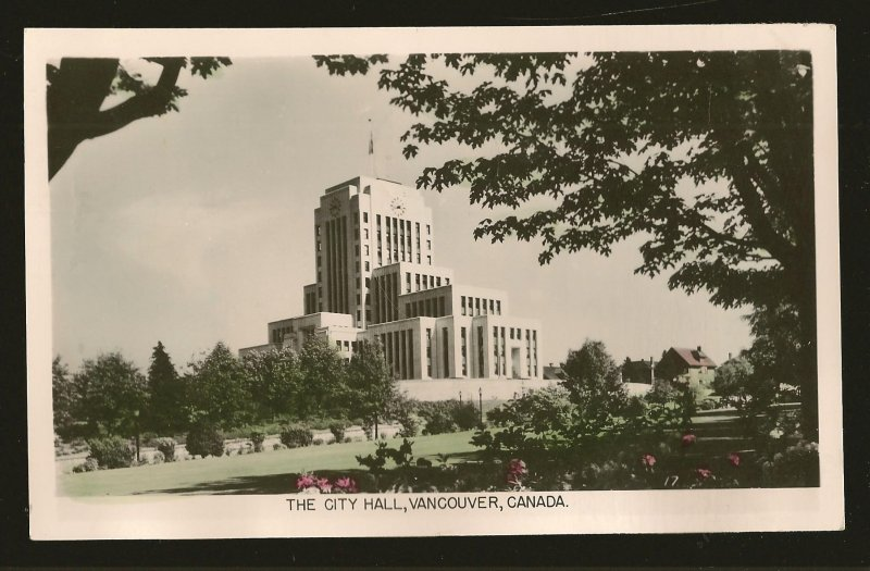 Postmarked 1952 City Hall Vancouver BC Gowen Sutton Color Postcard