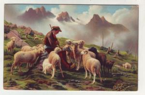 P153 JLs old postcard a pyrenese shepherd rosa bonheur art