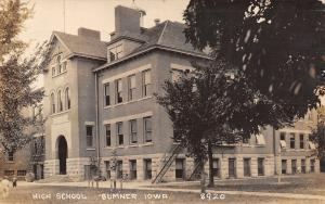 Sumner IA Tiny Kids @ High School~Bicycles~Fire Escapes~Framed Trees RPPC c1910