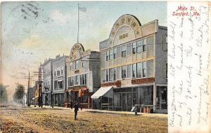 B86/ Sanford Maine Me Postcard 1909 Main Street Brown Block Stores