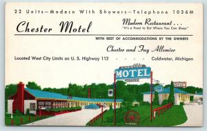 Postcard MI Coldwater Chester Motel R04