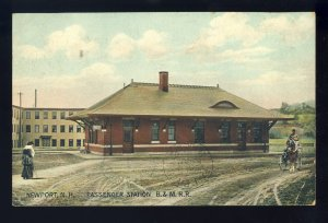 Newport, New Hampshire/NH Postcard, Passenger Station, B&M R.R./Railroad*, 1907!