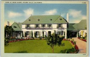 Holmby Hills, California Postcard HOME OF IRENE DUNNE House Front View Linen