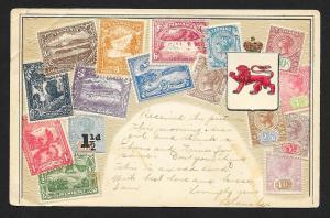 TASMANIA Stamps on Postcard Embossed Shield Used c1907
