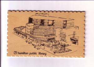 Public Library, Hamilton, Ontario, Vintage Wooden Postcard Redwood Plus Product