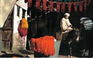 Morocco The Souk of the Dyer in Marrakech Donkey Vintage RPPC 07.32