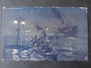 Russo-Japan War JAPANESE ARRANGE DECOY LIGHTS BEFORE FORT ARTHUR c1905 Tuck 6484