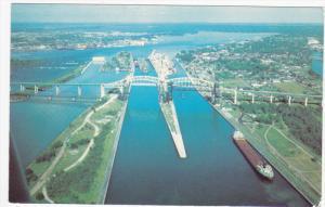 Aerial View, St. Mary's International Bridge, Soo Locks, SAULT STE. MARIE, On...