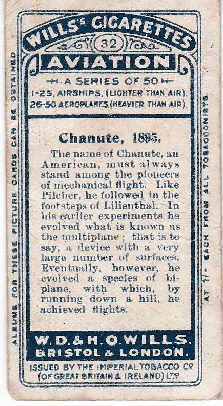 Cigarette Cards Wills AVIATION No 32 Chanute, 1895