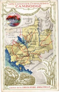 CPA Cambodge - Map Postcard and Chocolate Advertising INDOCHINA (967158)